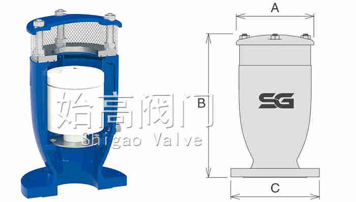防水锤型排气阀尺寸图