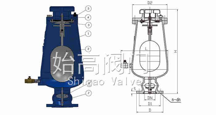 缓冲型污水复合式进排气阀结构图