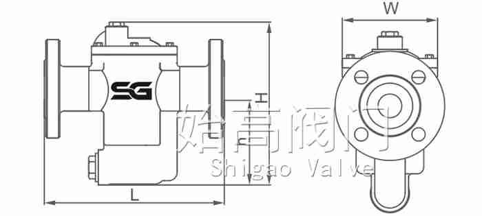 CS45倒吊桶式疏水阀尺寸图