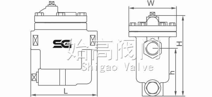 CS15H倒吊桶式疏水阀尺寸图