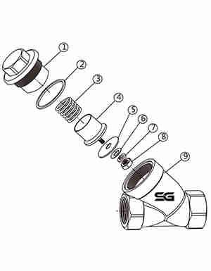 不锈钢Y型弹簧止回阀结构图