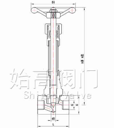 DJ11W-40P长轴低温针阀尺寸图
