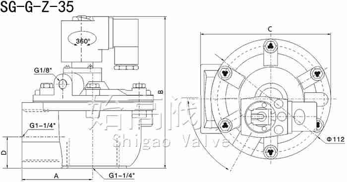 SG-G-Z-35脉冲阀尺寸图