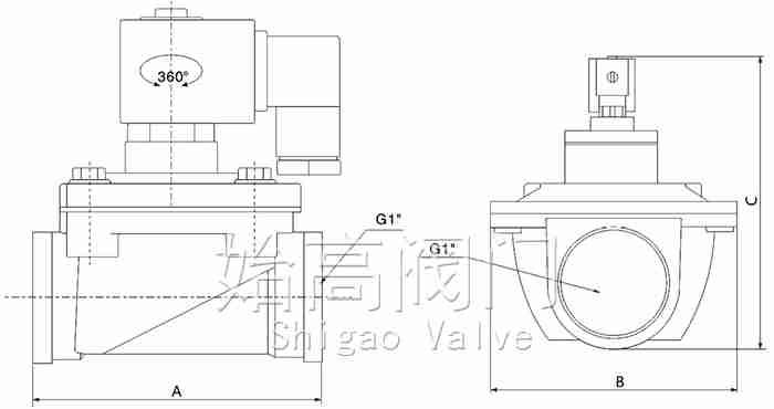 ASCO型直通式脉冲阀尺寸