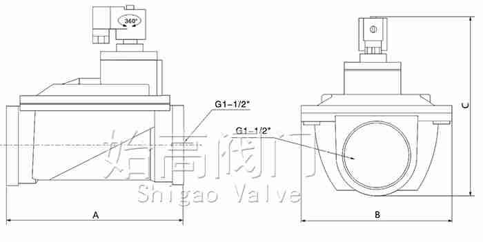 SG-A-T-40S直通式脉冲阀尺寸图