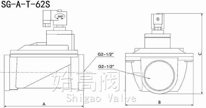 SG-A-Z-62S直通式脉冲阀尺寸