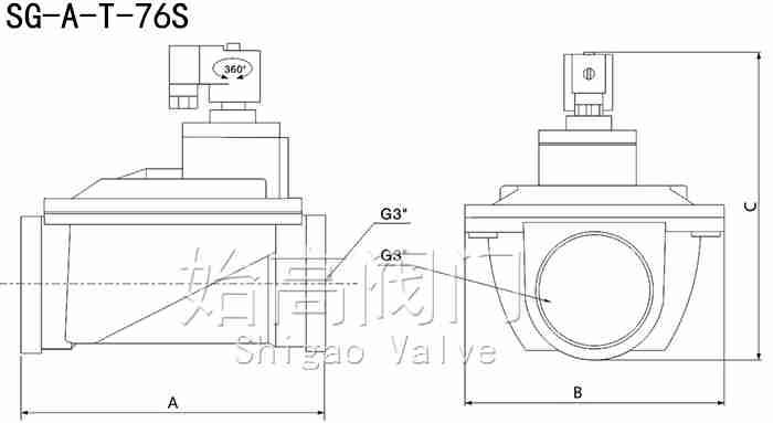 SG-A-T-72S直通式脉冲阀尺寸