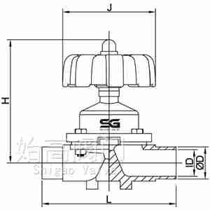 焊接手动卫生级隔膜阀尺寸图