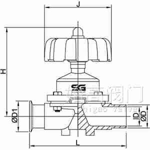 焊卡式手动卫生级隔膜阀尺寸图
