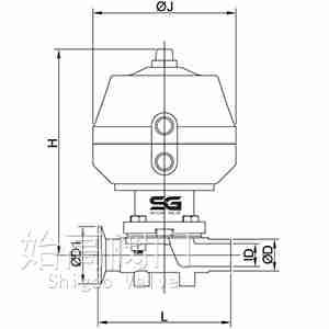 焊卡式气动卫生级隔膜阀尺寸图