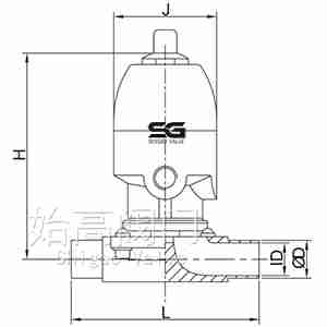焊接气动卫生级隔膜阀尺寸图