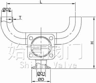 U型卫生级隔膜阀尺寸图