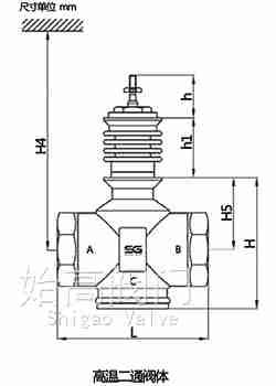 不锈钢高温电动调节阀尺寸图