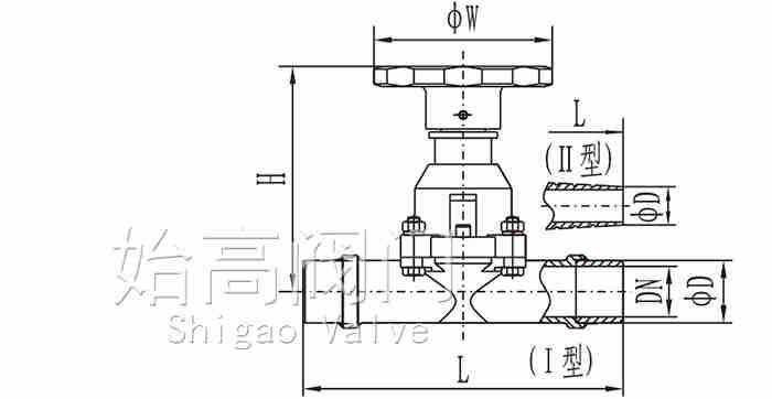 焊接手动高真空隔膜阀尺寸图