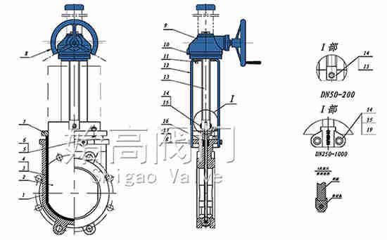 伞齿轮浆液阀零部件图