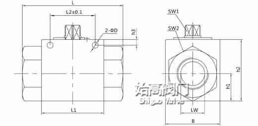 VH2V系列液压高压球阀尺寸图
