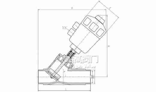 焊接角座阀尺寸图