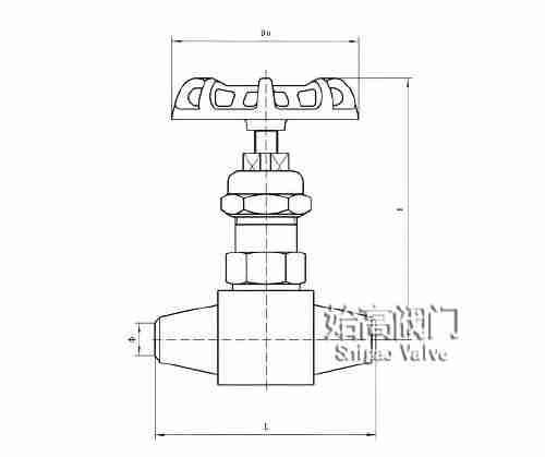 J61W-320P对焊针型阀尺寸图