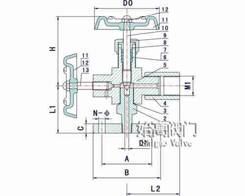 J49W-320P压力计针型阀零部件图