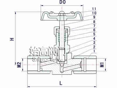 JJM1-64P压力表针型阀零部件图