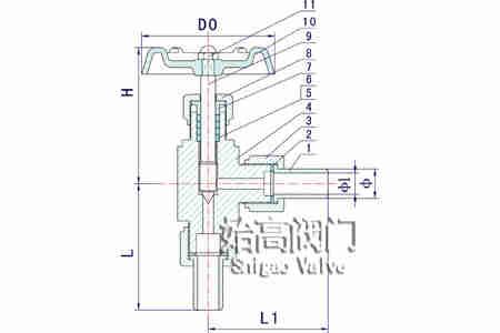 J24W-320P角式针型阀零部件图