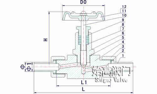 J21W-320P外螺纹针型阀零部件图
