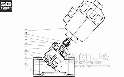 螺纹气动角座阀零部件图
