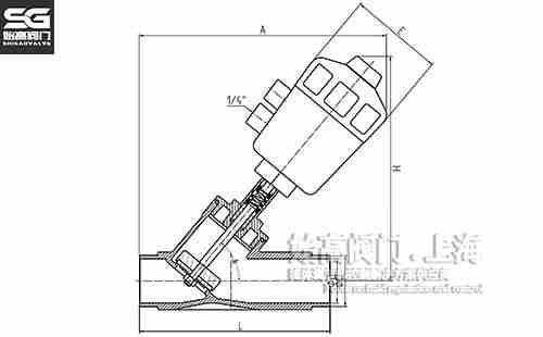 焊接角座阀塑料头尺寸图